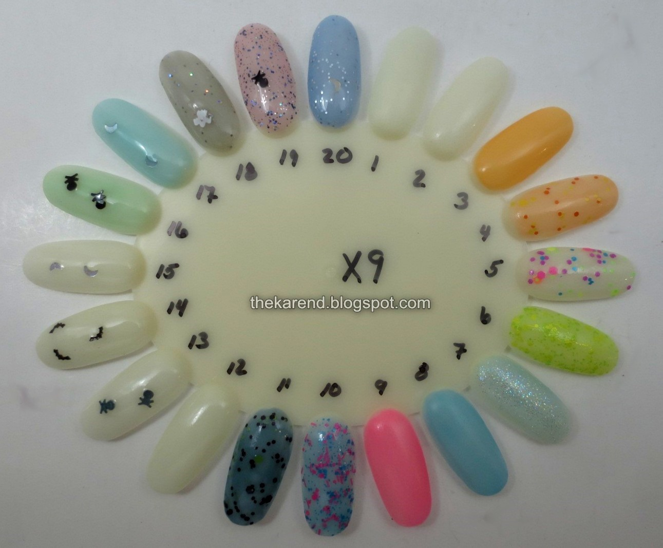 Frazzle and Aniploish: Wheel X9: Glow in the Dark Polishes