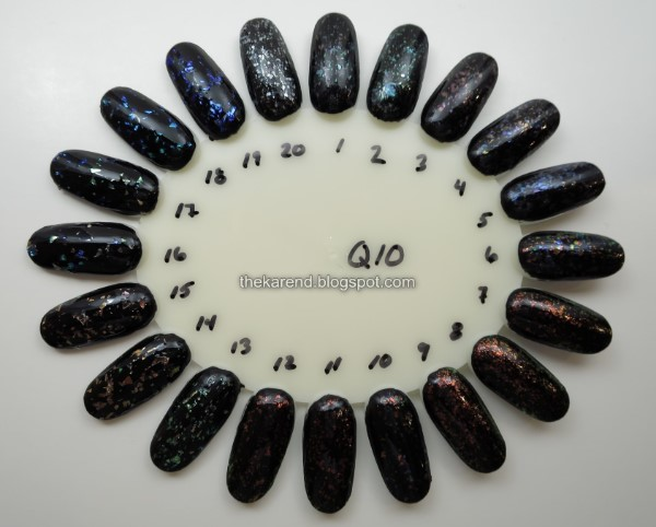 nail wheel with flakie polishes over black