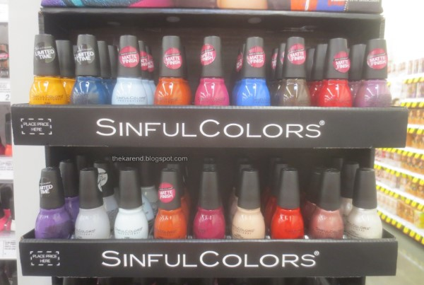 SinfulColors Radical Mattes nail polish display