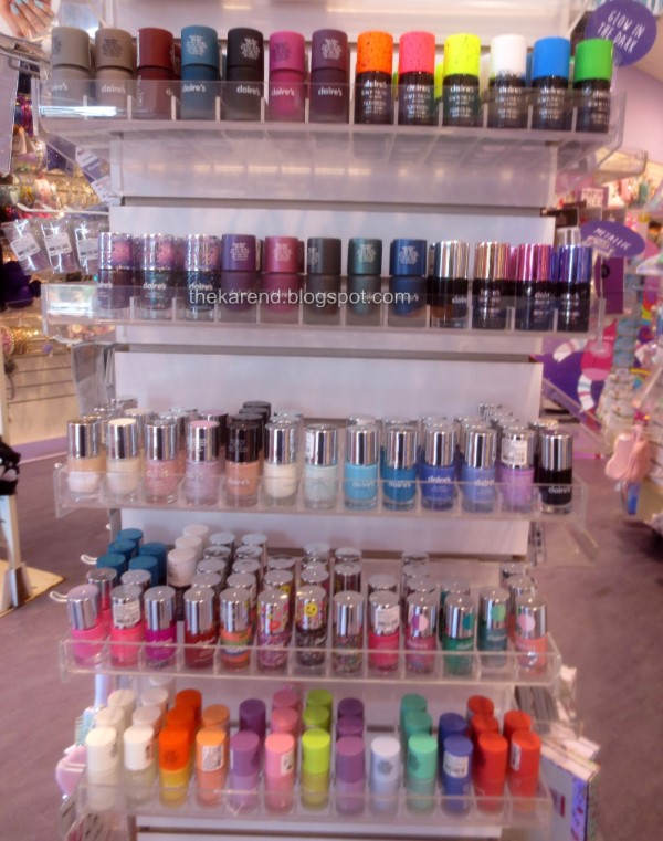 Claires nail polish display