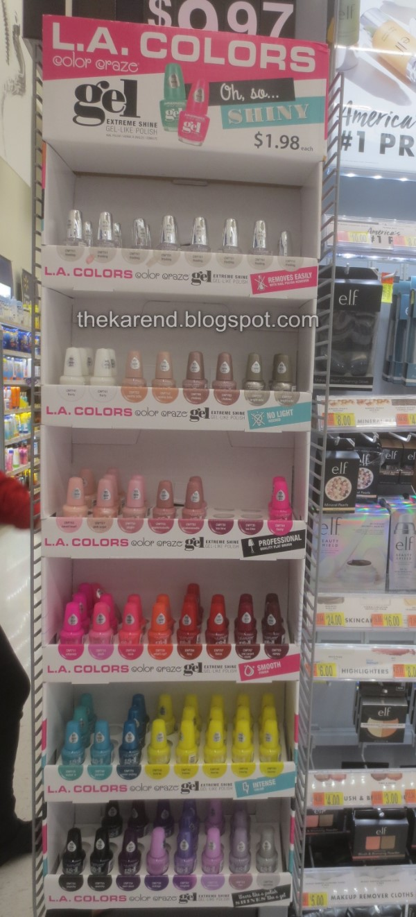 LA Colors Gel nail polish display