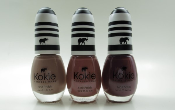 Kokie nail polish in Café Ole, Chill Seeker, and Playing Games